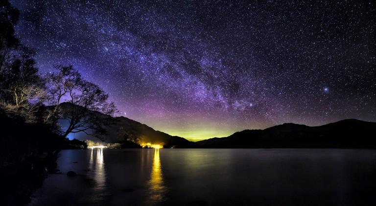 The Milky Way And Aurora Over Loch Lomond