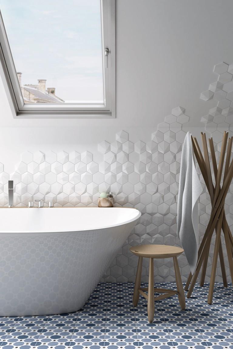 3D Offset Hexagon, £134 per sqm, Baked Tile Company