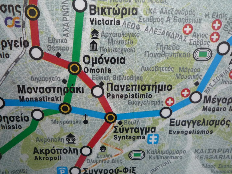 Metro map of central Athens