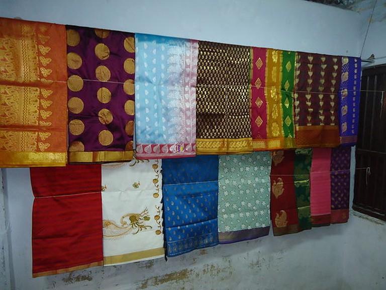 Kanchipuram silk on display
