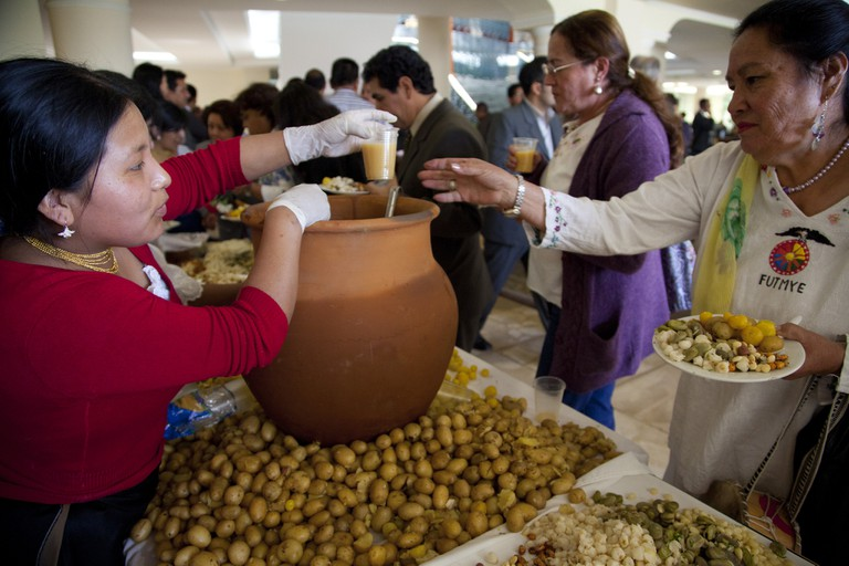 Sharing Chicha for Inti Raymi