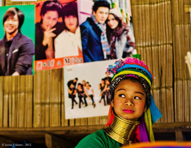 Thai celebrity posters in a long neck village