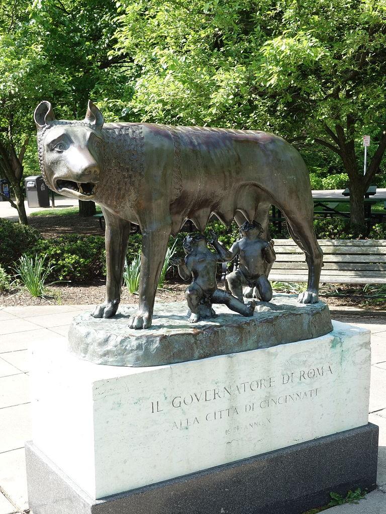 The Capitoline Wolf statue in Cincinnati, Ohio