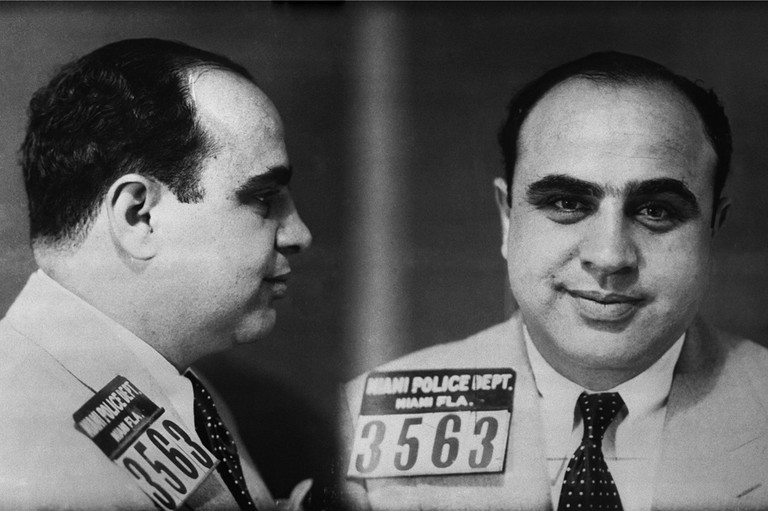 ca. 1930, Miami, Florida, USA: Police mug shot of Chicago Mobster Al Capone. The photograph was taken by the Miami Police Department