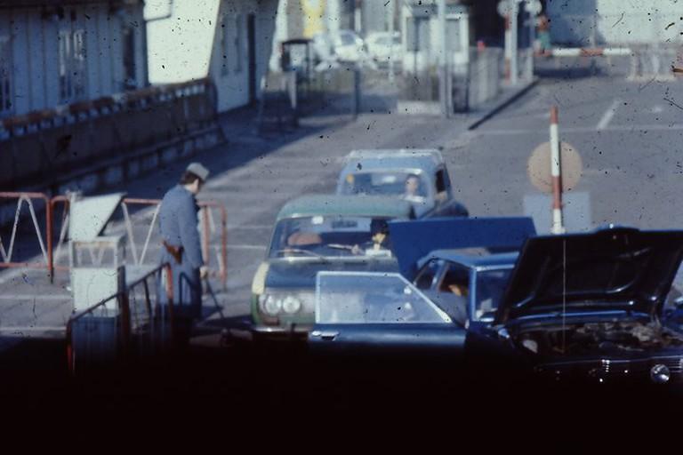 Cars leaving East Berlin