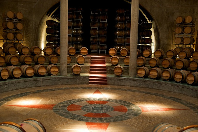 The distinctive circular cellar at the Salentein winery