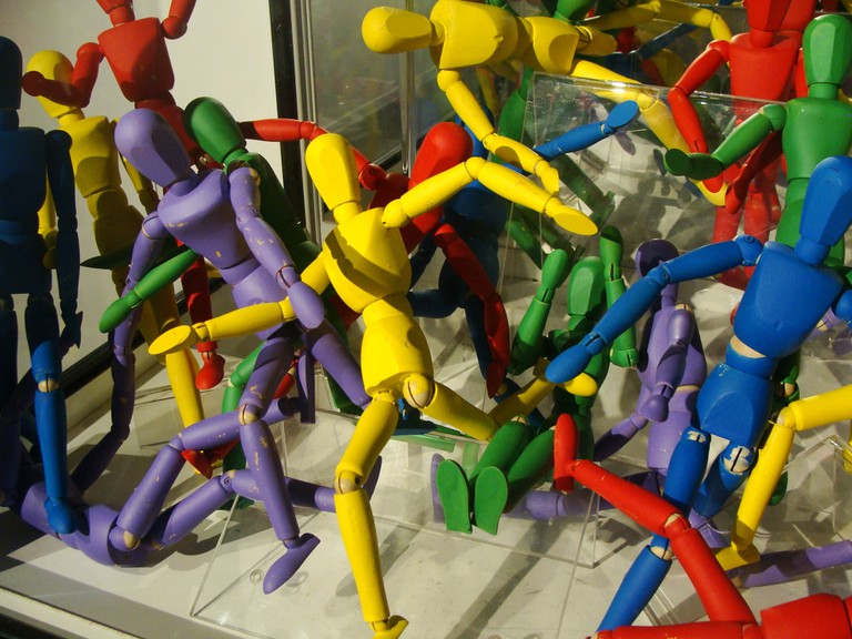 Colorful wooden football players from a past exhibition at Musée d'Aquitaine