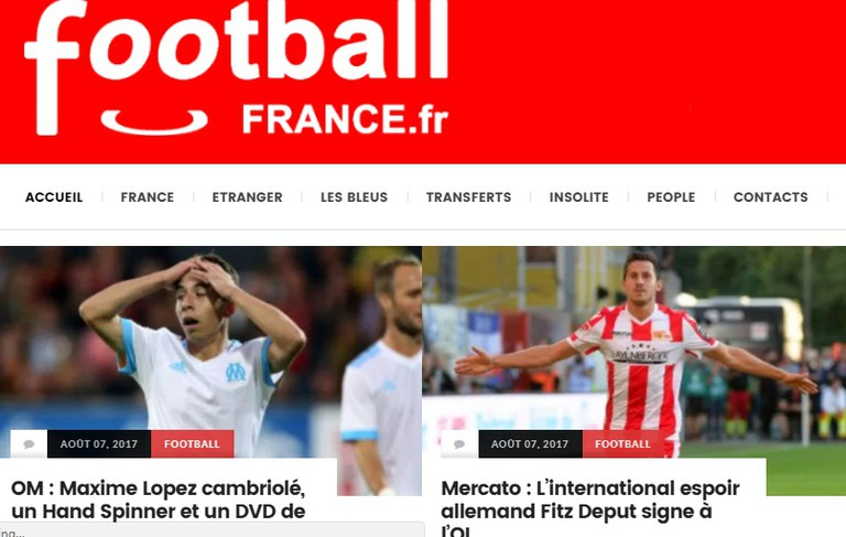 Edited screenshot of Football France homepage │ Courtesy of Football France