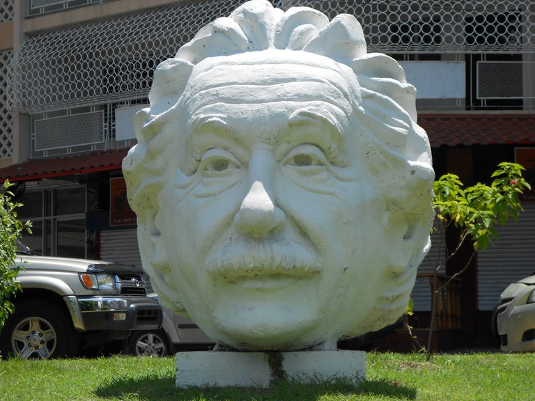 Statue of Einstein's head by Carlos Arboleda on Via Argentina, Panama City