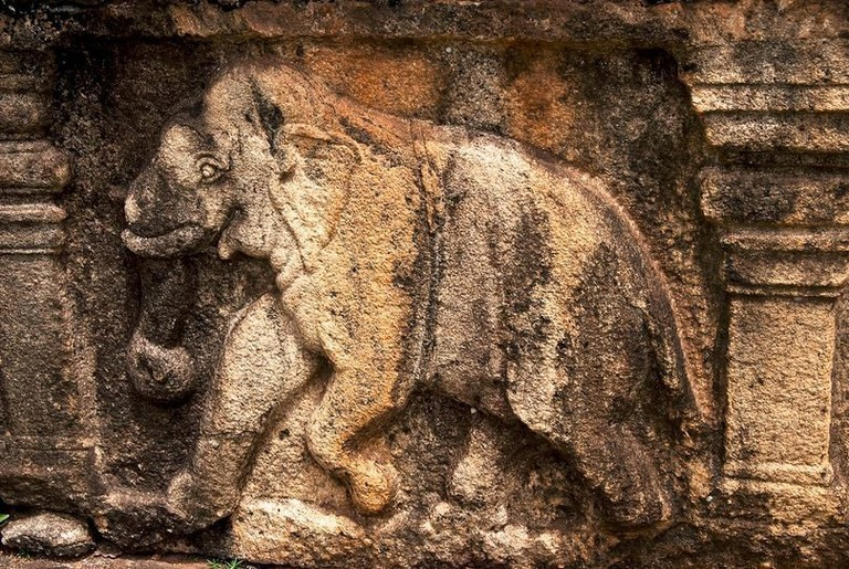 Elephant carving in Polonnaruwa, Sri Lanka | © Hafiz Issadeen/Flickr