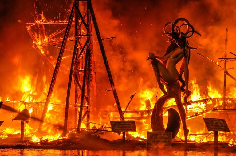 Floats go up in flames at Las Falles CC0 Pixabay