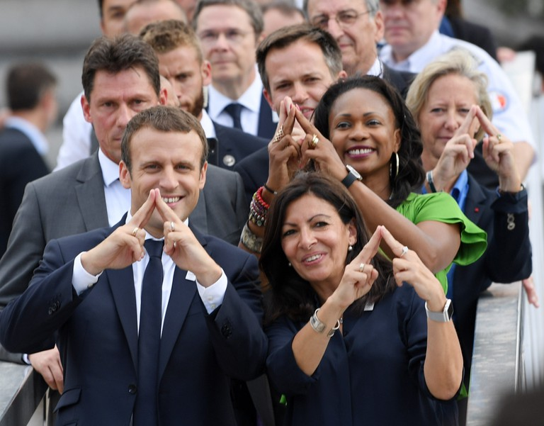 French President Emmanuel Macron, Paris Mayor Anne Hidalgo and Minister Of Sports Laura Flessel During the Olympics Days, in Paris, France, on June 24, 2017 │