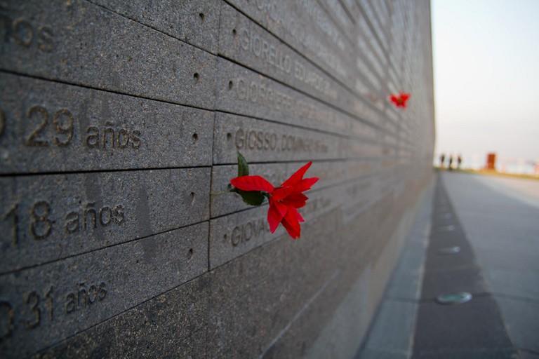 The remembrance wall at Parque de la Memoria