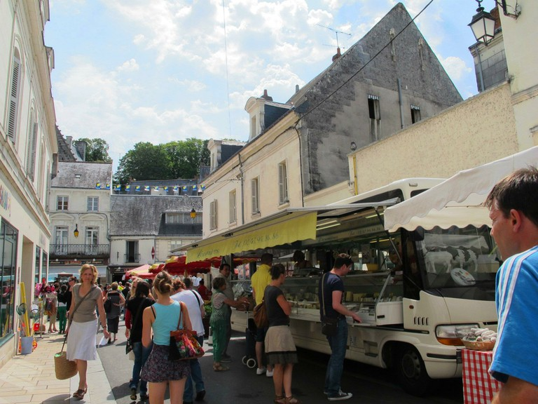 One of the many cheese stalls lining Loches' medieval streets
