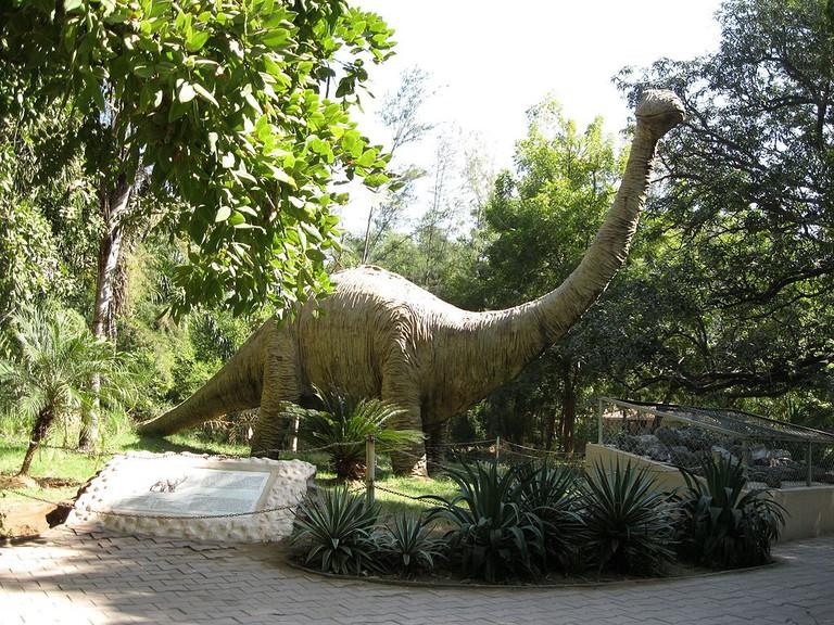 Life-size dinosaur model at Indroda Park