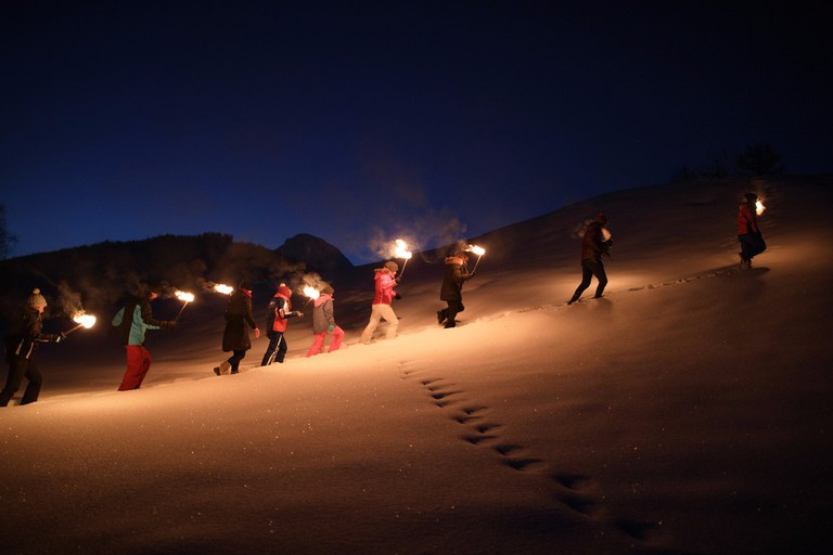 Procession by torchlight