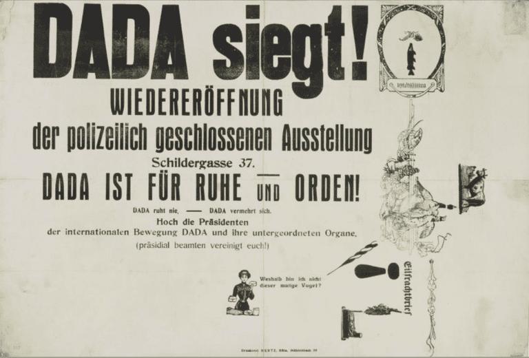 Max Ernst, Dada siegt! (Dada Triumphs!), poster for the exhibition Dada-Vorfrühling (Dada Early Spring), Brauhaus Winter (Winter Brewery), 1920