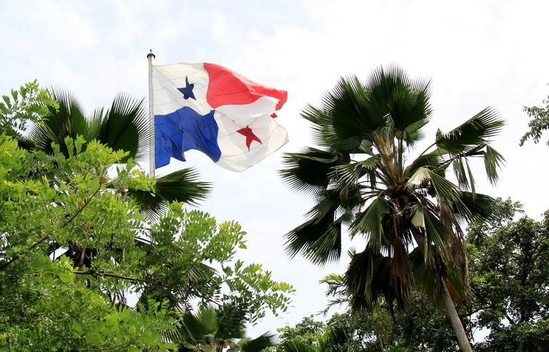Panamanian flag above Ancon Hill, Panama City