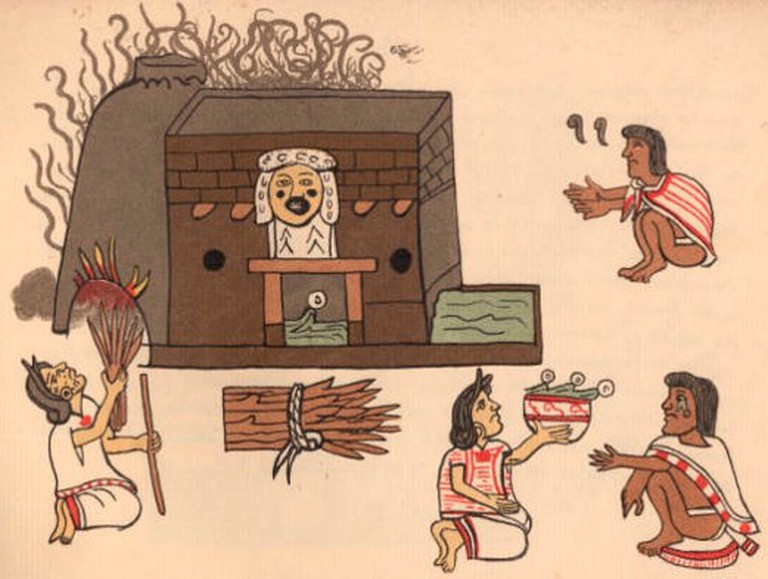 Temazcal depicted in an Aztec codex
