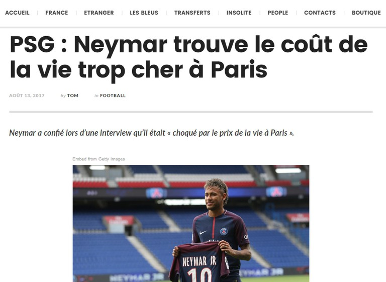Screenshot of Neymar story │ Courtesy of Football France