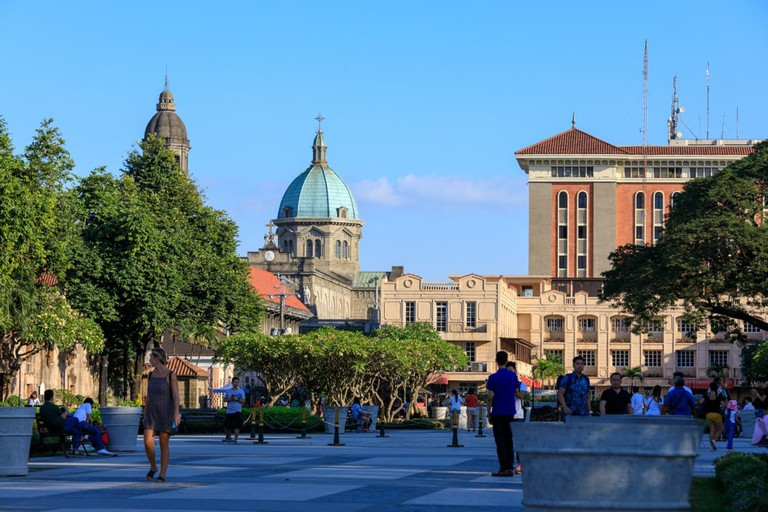Intramuros district building view from Spanish colonial Fort Santiago in Manila, Philippine
