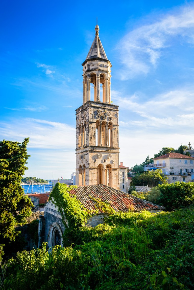 Old church bell tower on the island of Hvar, Dalmatia