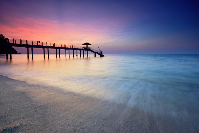 Kerachut beach jetty at sunset