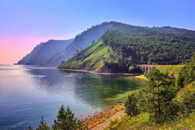 Lake Baikal landscape with an old railway bridge