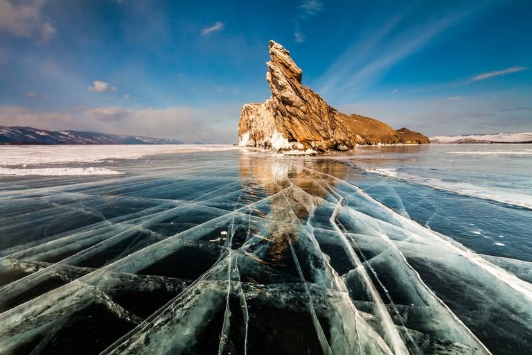 Transparent ice on Lake Baikal near Ogoy island