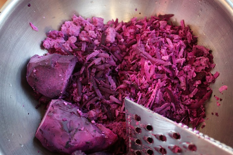 Grated ube (purple yam)