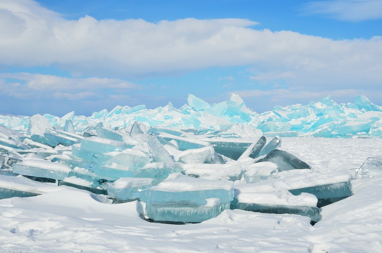 Ice shards also called 'hummocks' in Lake Baikal, Russia