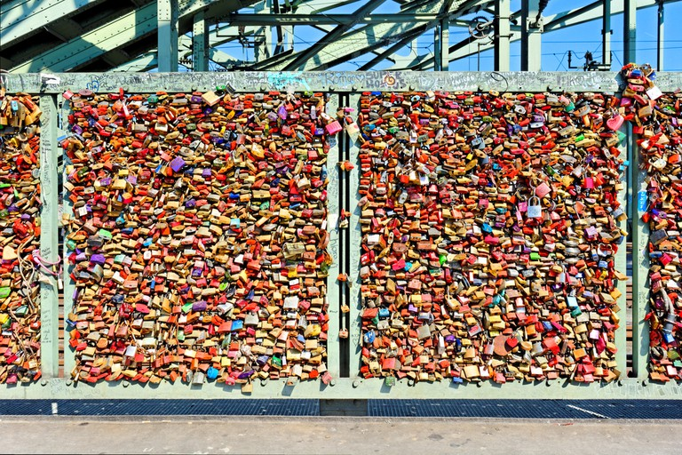 Thousands of couples have fixed padlocks to the railings of Hohenzollern bridge