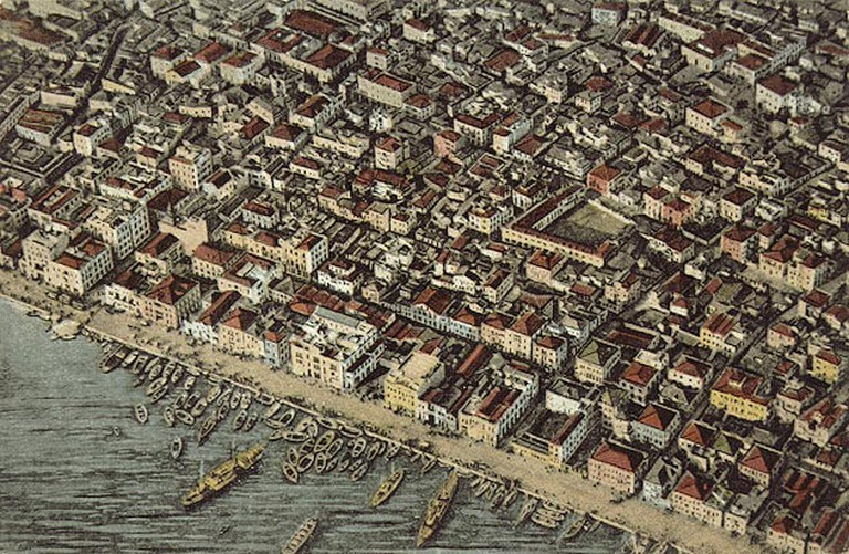 An engraving of Thessaloniki in the late 1800s