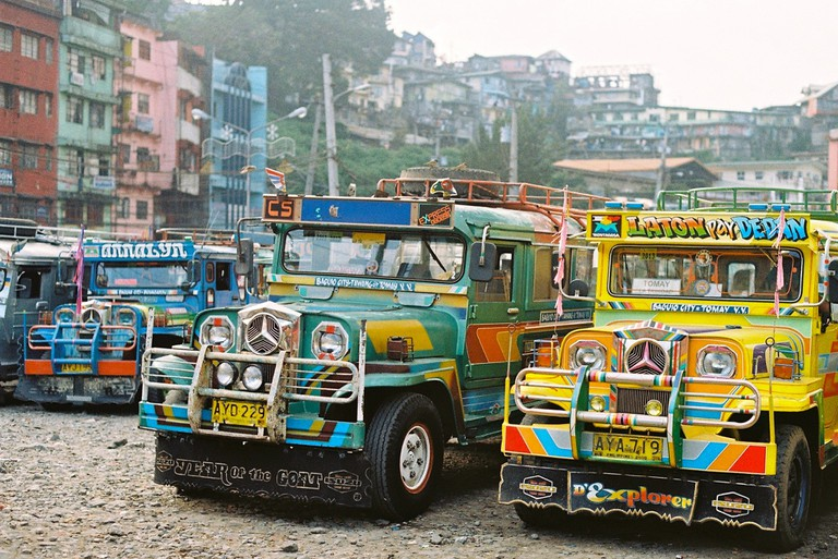 Jeepneys in a line