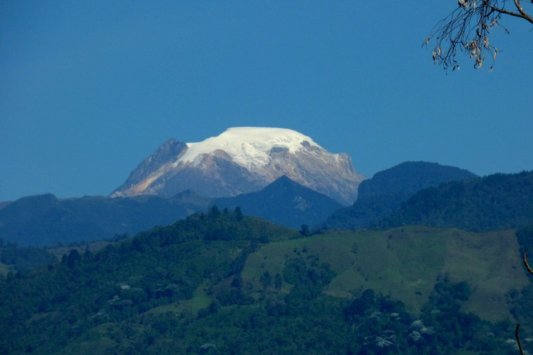 The snowcapped peak of Nevado del Tolima