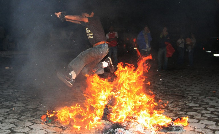 Jumping the Flames at Midnight, Vilcabamba, Ecuador