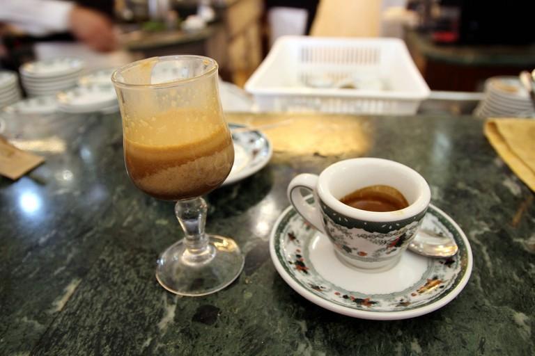 Caffè alla nocciola (with hazelnut) and espresso in Napoli's famous Gambrinus coffeeshop