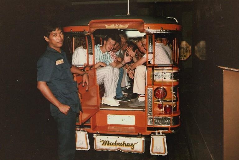 Tourists on a jeepney ride