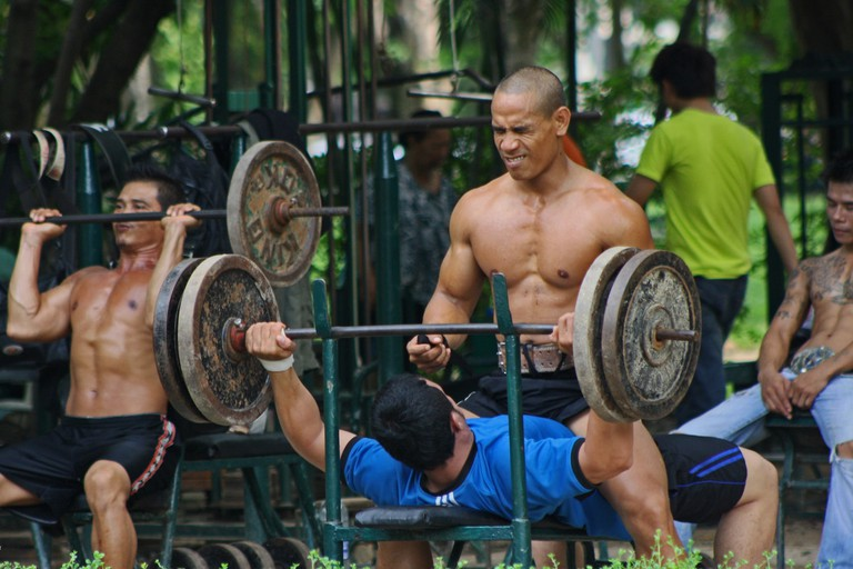 Working out in Lumpini Park