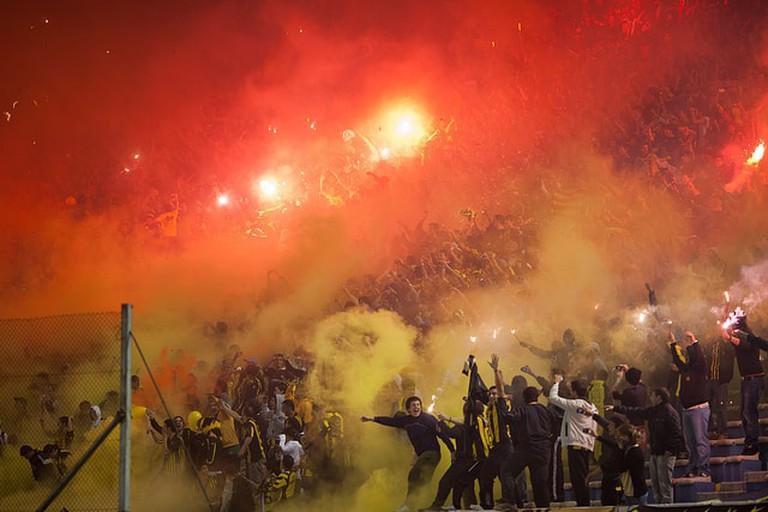 Football fans in a Uruguayan match, Peñarol