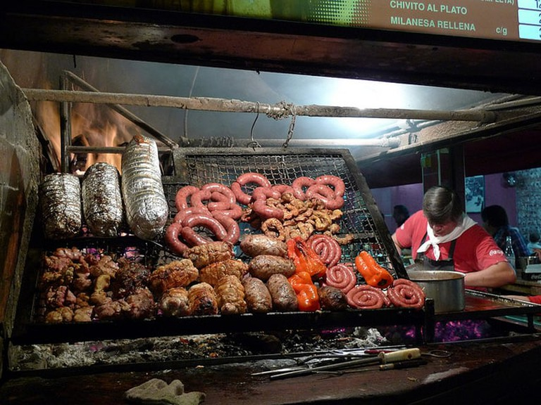 Asado, meat and vegetables on the grill, Montevideo, Uruguay