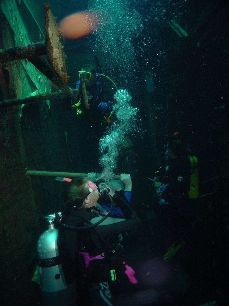 Diving off the wreck of the Zenobia