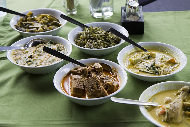 All kinds of Sri Lankan curries ready to eat.