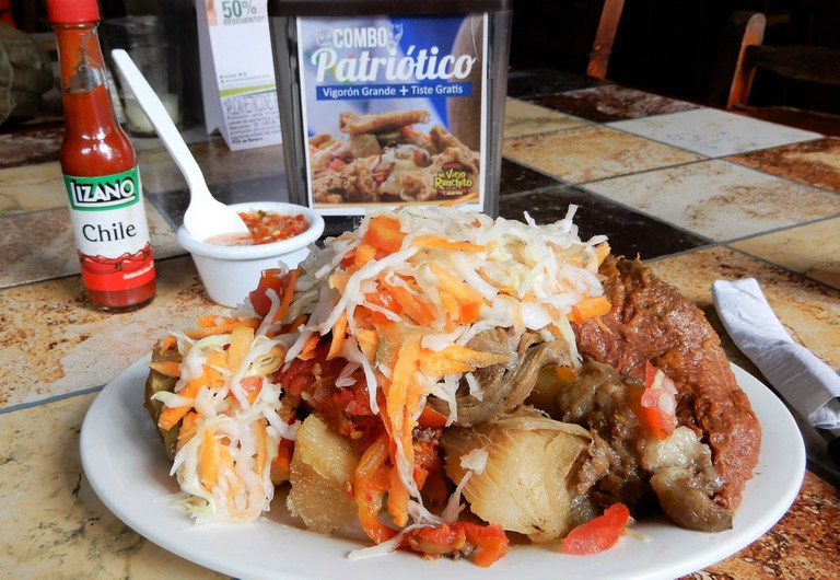 Baho is a Nicaraguan blow-out served on a banana leaf