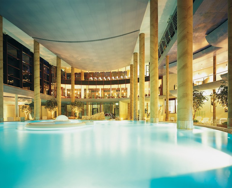 The view over the inside pool at the Carolus Thermen