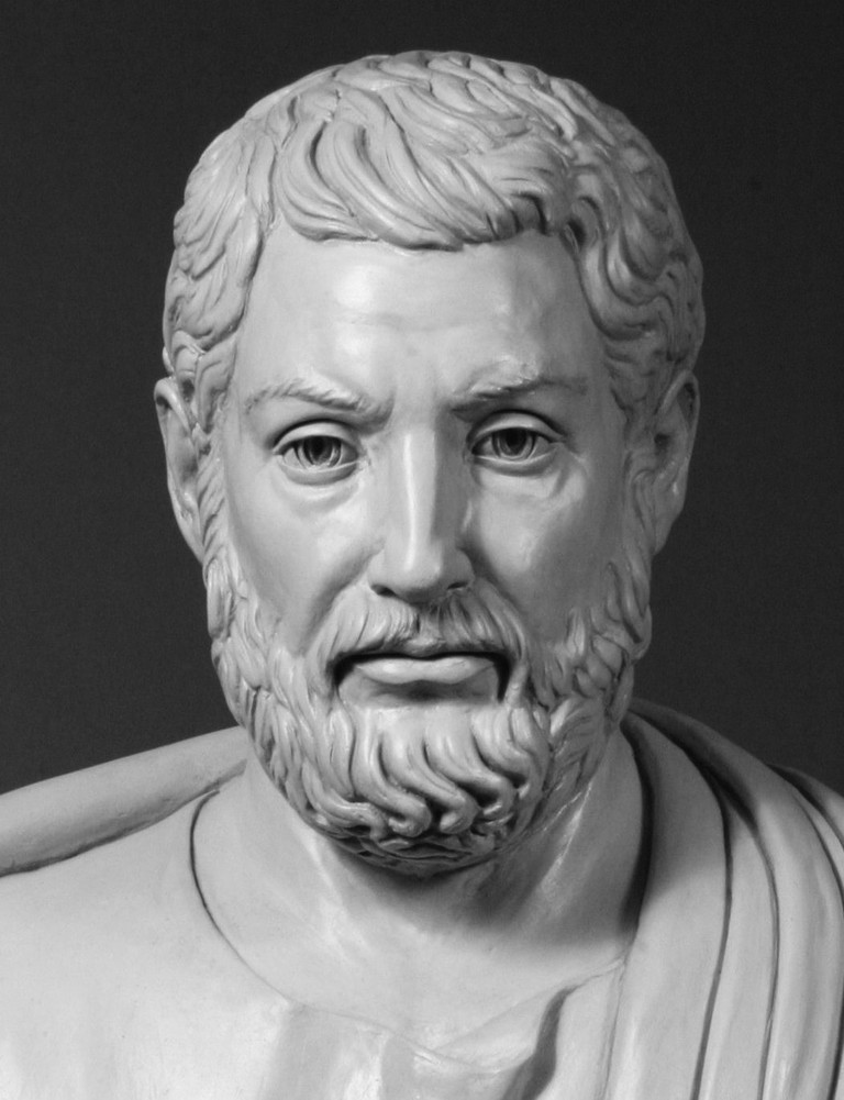 "Modern bust of Cleisthenes, known as ""the father of Athenian democracy"""
