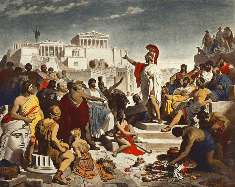 A 19th century painting by Philipp Foltz depicting the Athenian politician Pericles delivering his famous funeral oration in front of the Assembly