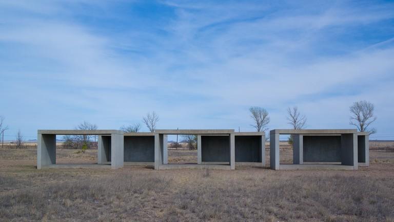 Donald Judd sculptures in Marfa, Texas