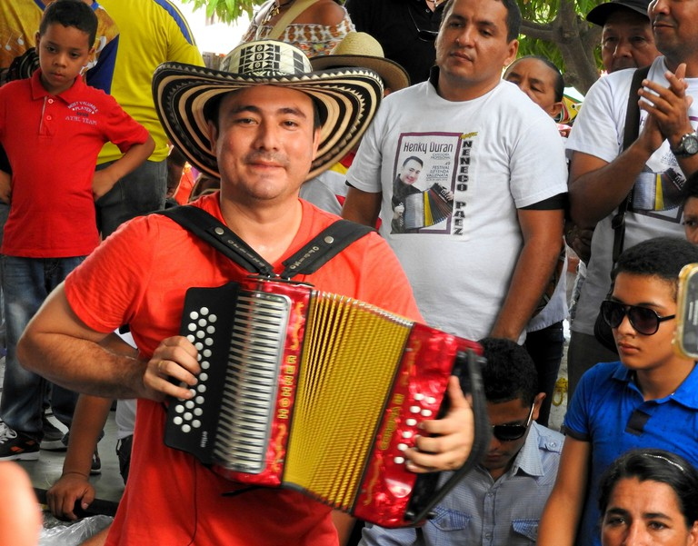 A musician performing at the Vallenato Legend Festival