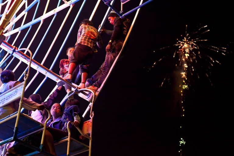 A human-powered Ferris Wheel at the fire balloon festival in Taunggyi